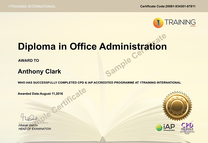 1TRAINING sample certificate