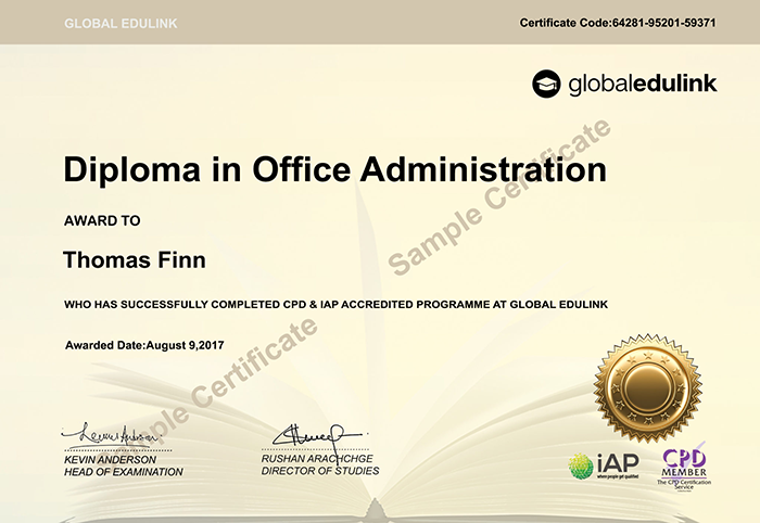 Global Edulink sample certificate