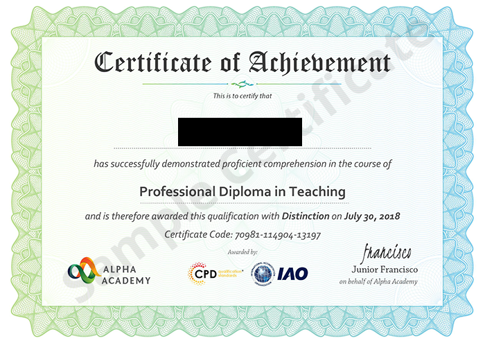 Alpha Academy sample certificate