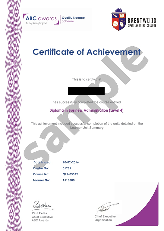 Brentwood Open Learning College sample certificate