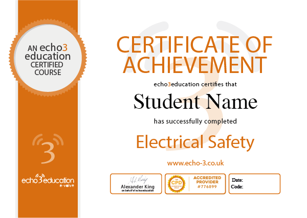 Echo3 Education sample certificate