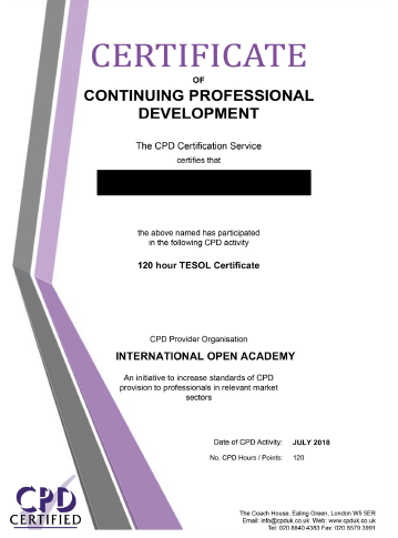 International Open Academy sample certificate