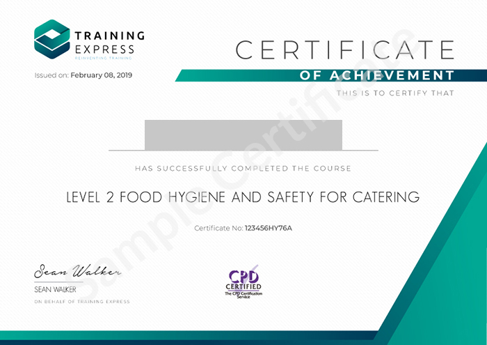 Training Express sample certificate