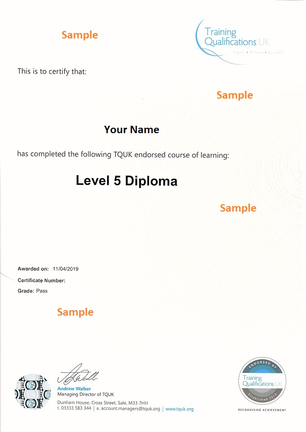 Inspire London College sample certificate