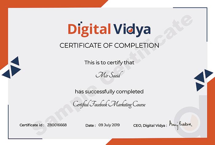 Digital Vidya sample certificate