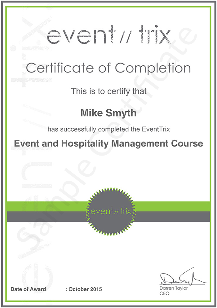 EventTrix  sample certificate