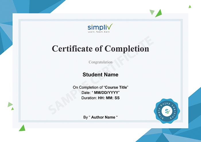 Simpliv sample certificate