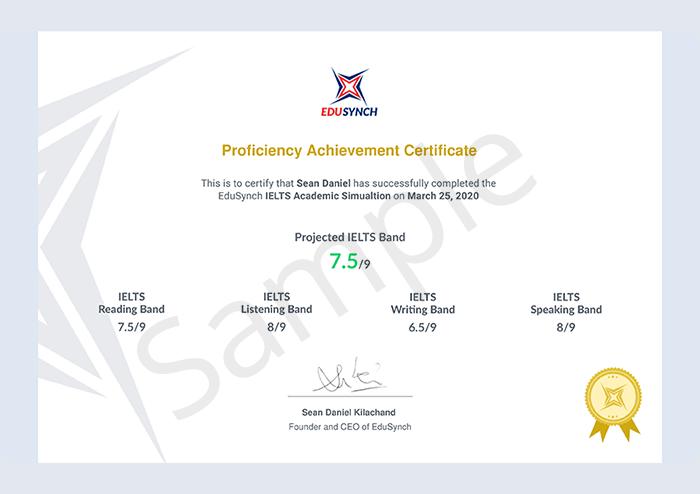 EduSynch sample certificate