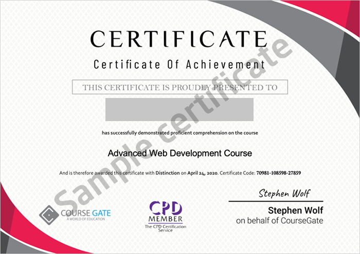Course Gate sample certificate