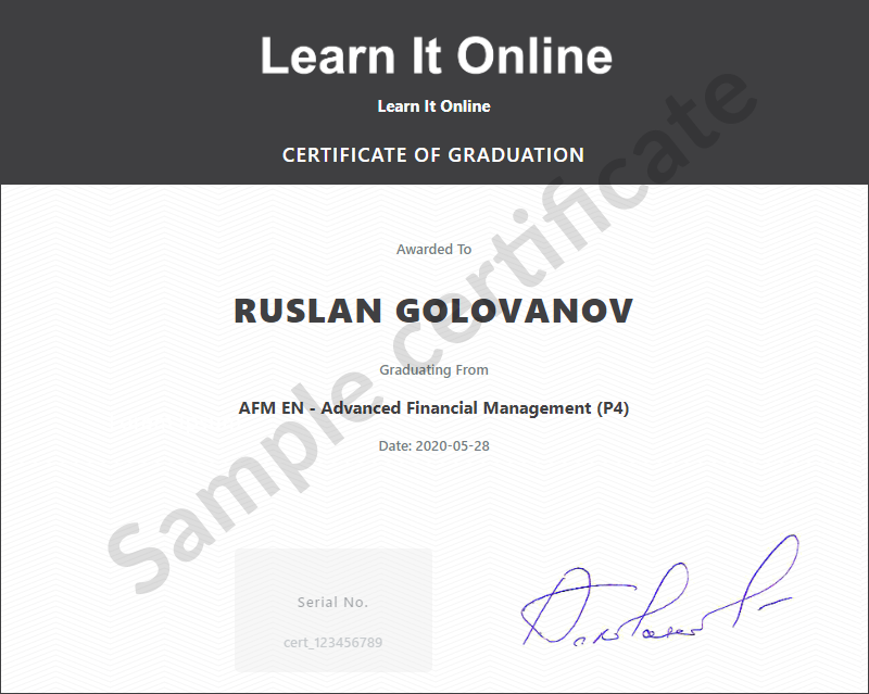 Learn It Online sample certificate