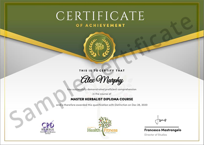 Academy for Health & Fitness sample certificate
