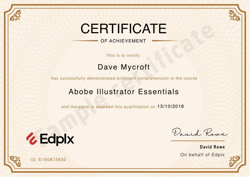 Edplx sample certificate
