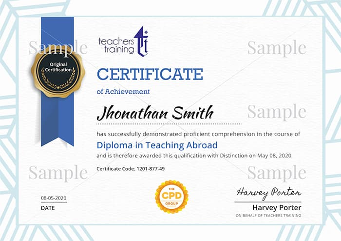 The Teachers Training sample certificate