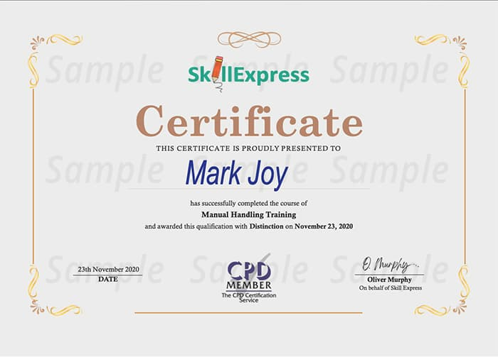 Skill Express sample certificate