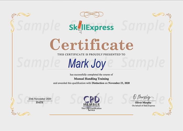 Skill Express sample certificate