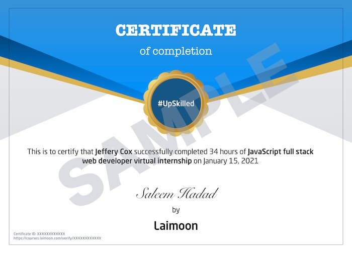 JavaScript Full stack web developer virtual internship Certificate