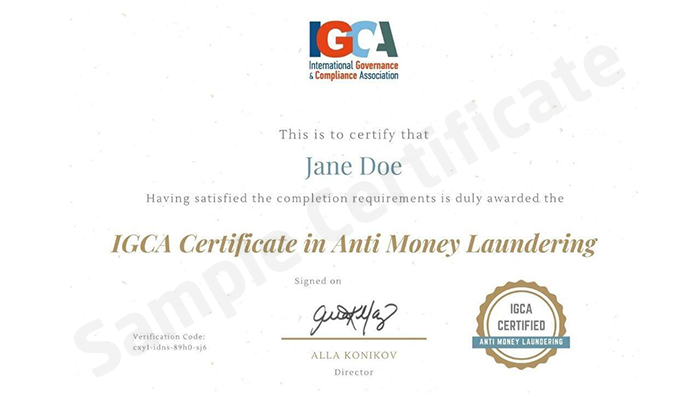 European Institute of Management and Finance (EIMF)  sample certificate