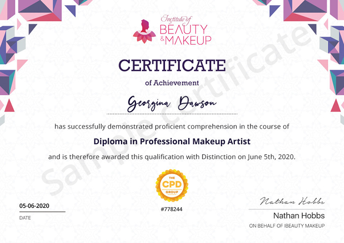 Institute of Beauty & Makeup sample certificate