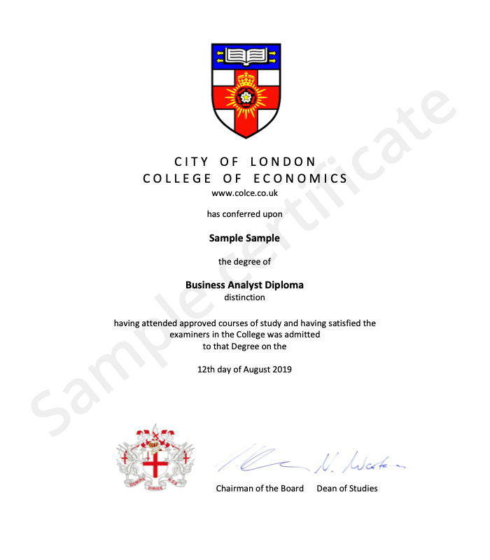 City of London College of Economics sample certificate