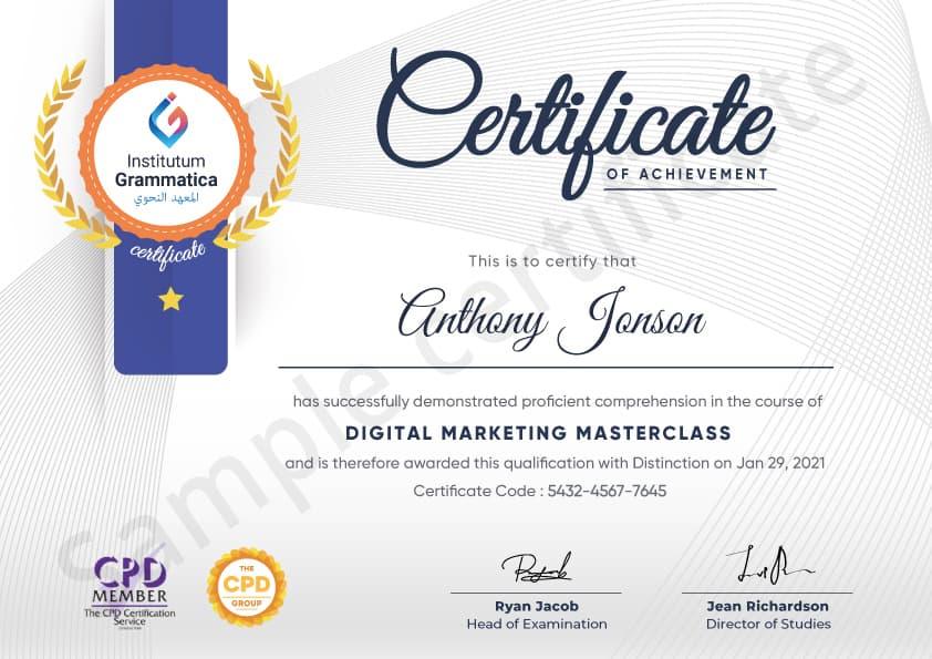 Institutum Grammatica sample certificate