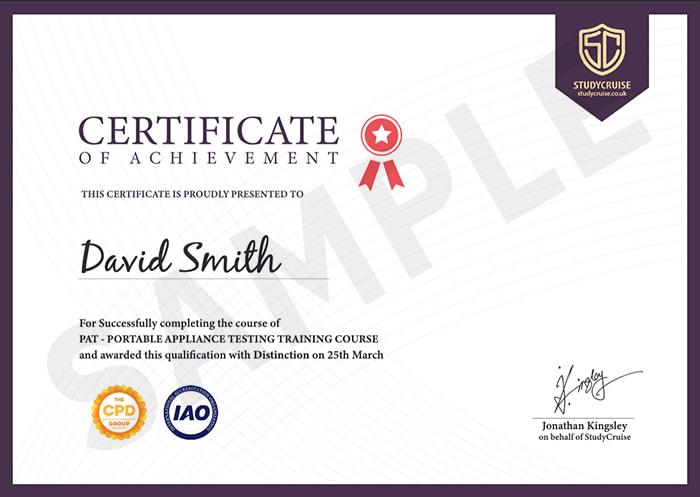 Study Cruise sample certificate