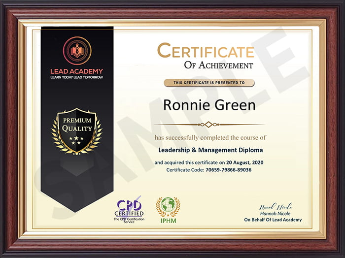 Lead Academy sample certificate